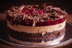 Torta del chocolate y de la cereza Fotografía de archivo