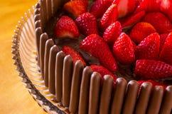 Torta del chocolate y de la fresa Foto de archivo
