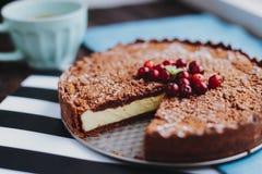 Torta del cioccolato con la ricotta immagine stock