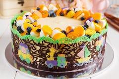 Torta del cumpleaños del niño Foto de archivo libre de regalías
