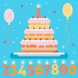 Torta del feliz cumpleaños con las velas de los números Fotografía de archivo libre de regalías