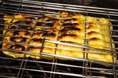 Torta del fungo e del pollo grigliata sopra fuoco Fotografia Stock