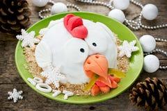 Torta del gallo de la torta del gallo, torta de la gallina, torta del pollo, torta del pájaro - FE Fotografía de archivo