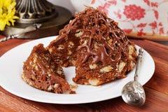 Torta del hormiguero con las migas de la galleta y la montaña de la leche condensada Fotografía de archivo libre de regalías