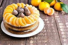 Torta del invierno con el mandarín Fotografía de archivo libre de regalías
