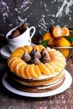 Torta del invierno con el mandarín Imagen de archivo libre de regalías