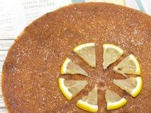 Torta del limón y de la almendra Imagenes de archivo