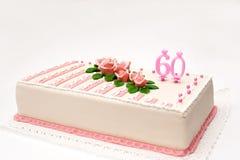Torta del marzapane di compleanno Immagini Stock