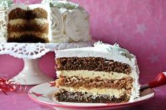 Torta del merengue con las nueces y el café con leche Foto de archivo libre de regalías