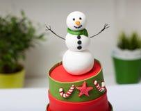 Torta del muñeco de nieve Imagen de archivo libre de regalías