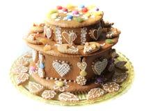 torta del pan de jengibre del cumpleaños Foto de archivo libre de regalías