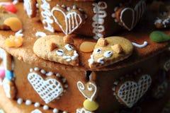 torta del pan de jengibre del cumpleaños Fotos de archivo