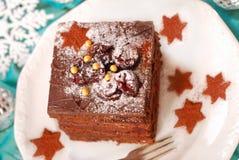 Torta del pan de jengibre de la Navidad Fotografía de archivo libre de regalías