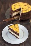 Torta del plátano con el chocolate Fotos de archivo