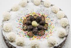 Torta del Ricotta y de chocolate adornada con los huevos de chocolate Foto de archivo