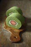 Torta del rollo de Matcha Foto de archivo libre de regalías