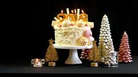 Torta del showstopper de la Feliz Año Nuevo 2018 con el espacio de la copia Fotos de archivo
