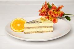 Torta del sudor con la naranja Imagen de archivo libre de regalías