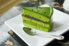 Torta del tè verde Fotografie Stock Libere da Diritti