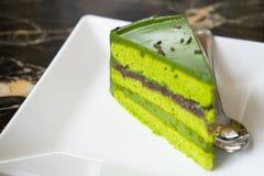 Torta del tè verde Fotografia Stock