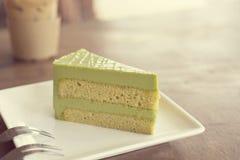 Torta del tè verde di Matcha Fotografie Stock