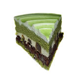 Torta del té verde y pastel de queso del brownie foto de archivo