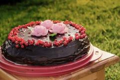 Torta del verano, adornada con las bayas fotos de archivo