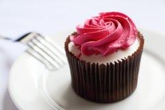 Torta deliciosa con crema rosada Imágenes de archivo libres de regalías