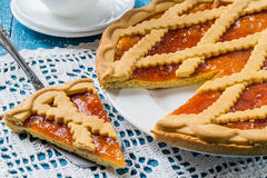 Torta deliciosa con el atasco del albaricoque Fotos de archivo