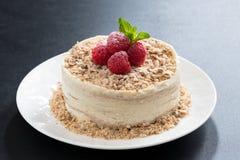 torta deliciosa con natillas y la frambuesa en fondo oscuro Foto de archivo