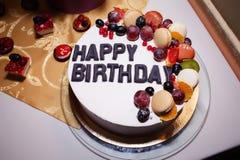 Torta deliciosa de la fruta para el cumpleaños Imagen de archivo