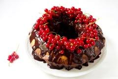 Torta deliciosa del anillo con el chocolate y las pasas rojas Imágenes de archivo libres de regalías