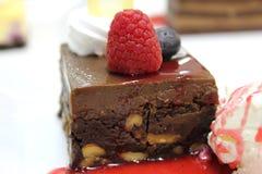 Torta deliciosa del brownie fotos de archivo