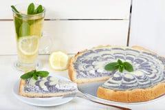 Torta deliciosa do bolo de queijo com enchimento da papoila Imagem de Stock Royalty Free