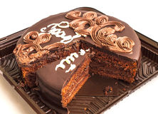 Torta deliciosa do chocolate em uma bandeja Fotos de Stock Royalty Free