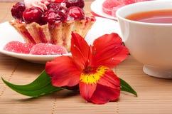 Torta della bacca con tè e gelatina Fotografia Stock