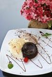 Torta della lava del cioccolato Fotografia Stock