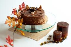 Torta della noce del cioccolato con la decorazione Fotografia Stock