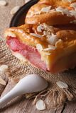 Torta della pera con le mandorle su un verticale del piatto Fotografie Stock