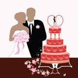 Torta dello sposo e di cerimonia nuziale della sposa Fotografia Stock Libera da Diritti
