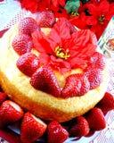 Torta di alimento di angelo della fragola Fotografie Stock