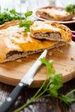 Torta di carne rustica nutriente in un taglio Fotografia Stock