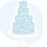 Torta di cerimonia nuziale - azzurro Fotografia Stock