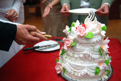Torta di cerimonia nuziale con la scopa e la sposa Fotografie Stock Libere da Diritti