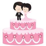 Torta di cerimonia nuziale con la sposa e lo sposo Immagine Stock