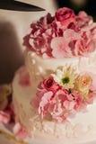 Torta di cerimonia nuziale con le rose dentellare Fotografia Stock