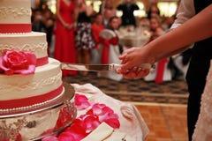 Torta di cerimonia nuziale di taglio dello sposo e della sposa Immagini Stock Libere da Diritti