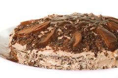Torta di cioccolato con crema Fotografia Stock Libera da Diritti
