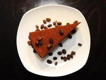 Torta di cioccolato con i chicchi di caffè Immagine Stock