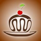 Torta di cioccolato con la ciliegia Fotografia Stock Libera da Diritti